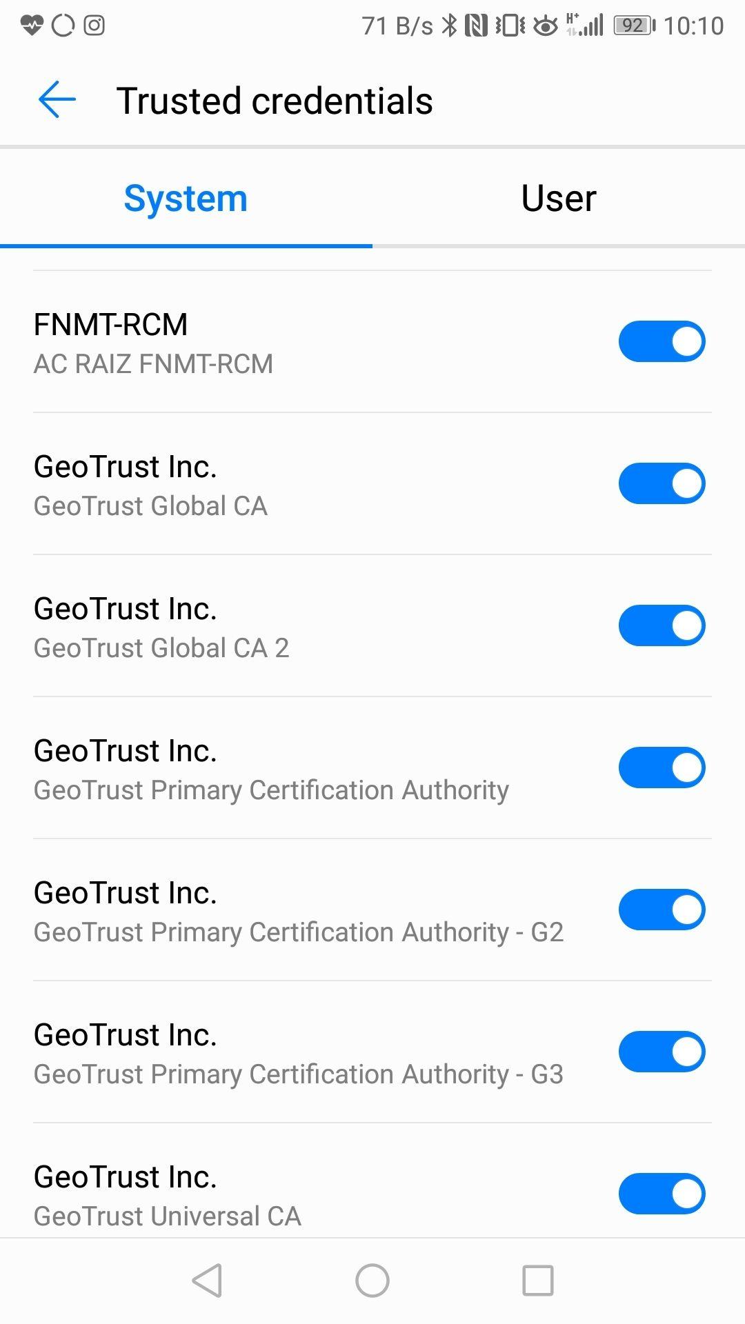 Els certificats FNMT de sèrie a l'Android 8