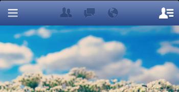 Cabecera del Facebook, con el botón de menú a la izquierda