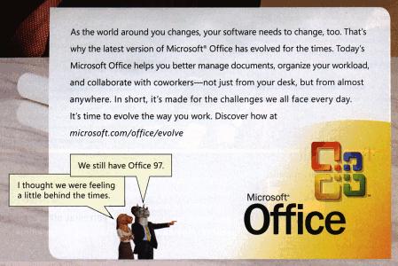 Fragment de l'anunci de Microsft Office a la revista Wired 13.04